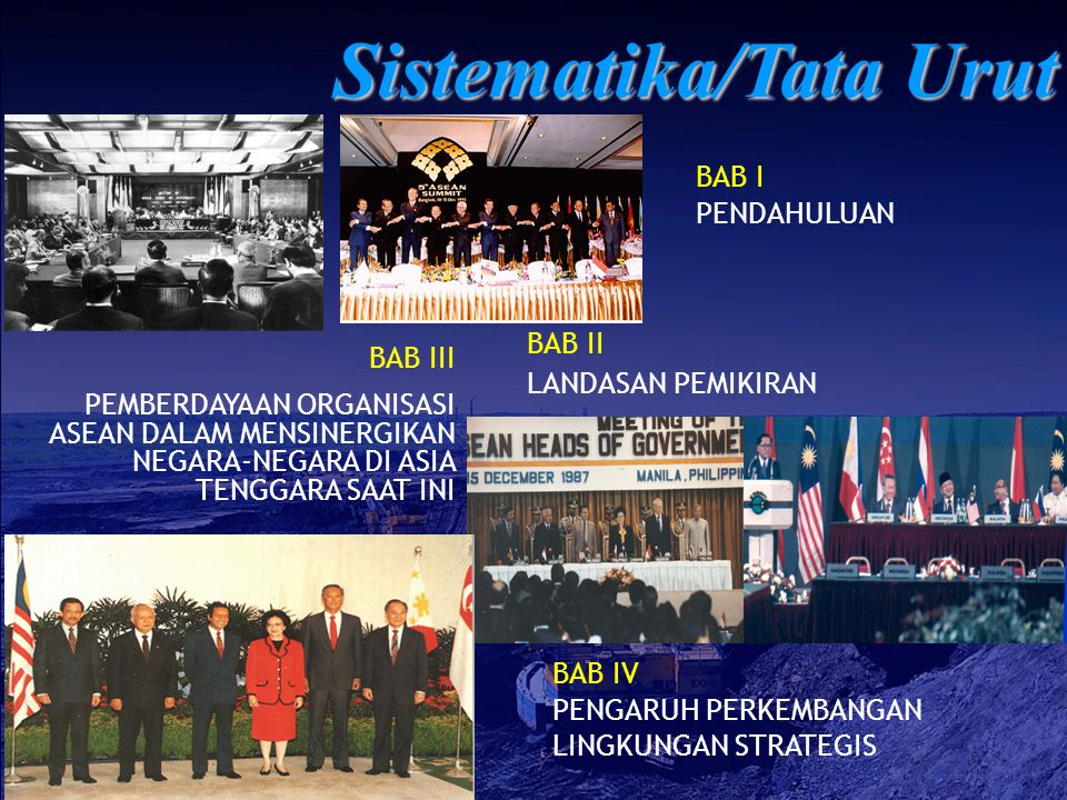 BAB V PEMBERDAYAAN ORGANISASI ASEAN DALAM MENSINERGIKAN NEGARA-NEGARA DI ASIA TENGGARA YANG DIHARAPKAN BAB VI KONSEPSI PEMBERDAYAAN ORGANISASI ASEAN DALAM MENSINERGIKAN NEGARA-NEGARA DI ASIA TENGGARA BAB VII PENUTUP Sistematika/Tata Urut (Lanj.)