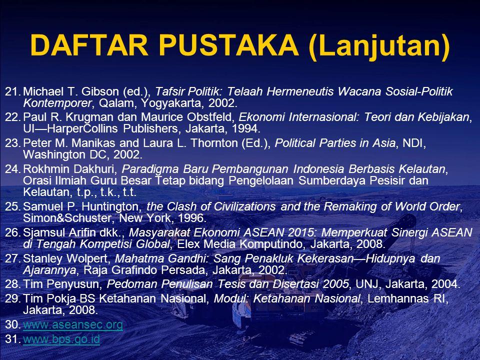 DAFTAR PUSTAKA (Lanjutan) 21.Michael T. Gibson (ed.), Tafsir Politik: Telaah Hermeneutis Wacana Sosial-Politik Kontemporer, Qalam, Yogyakarta, 2002. 2