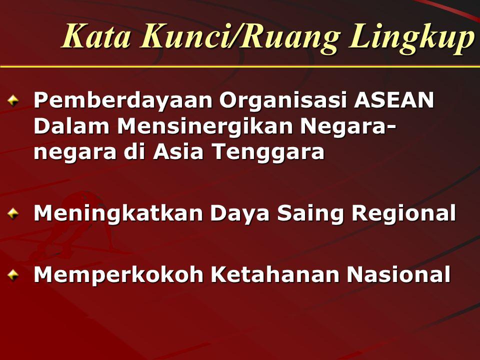 Kata Kunci/Ruang Lingkup Pemberdayaan Organisasi ASEAN Dalam Mensinergikan Negara- negara di Asia Tenggara Meningkatkan Daya Saing Regional Memperkoko