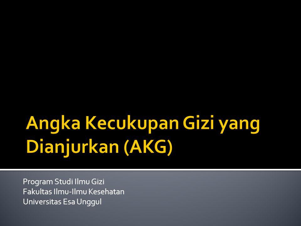 Program Studi Ilmu Gizi Fakultas Ilmu-Ilmu Kesehatan Universitas Esa Unggul