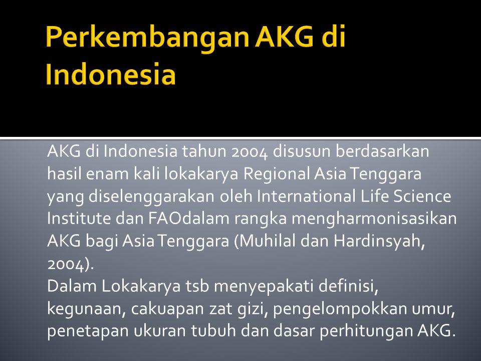 AKG di Indonesia tahun 2004 disusun berdasarkan hasil enam kali lokakarya Regional Asia Tenggara yang diselenggarakan oleh International Life Science