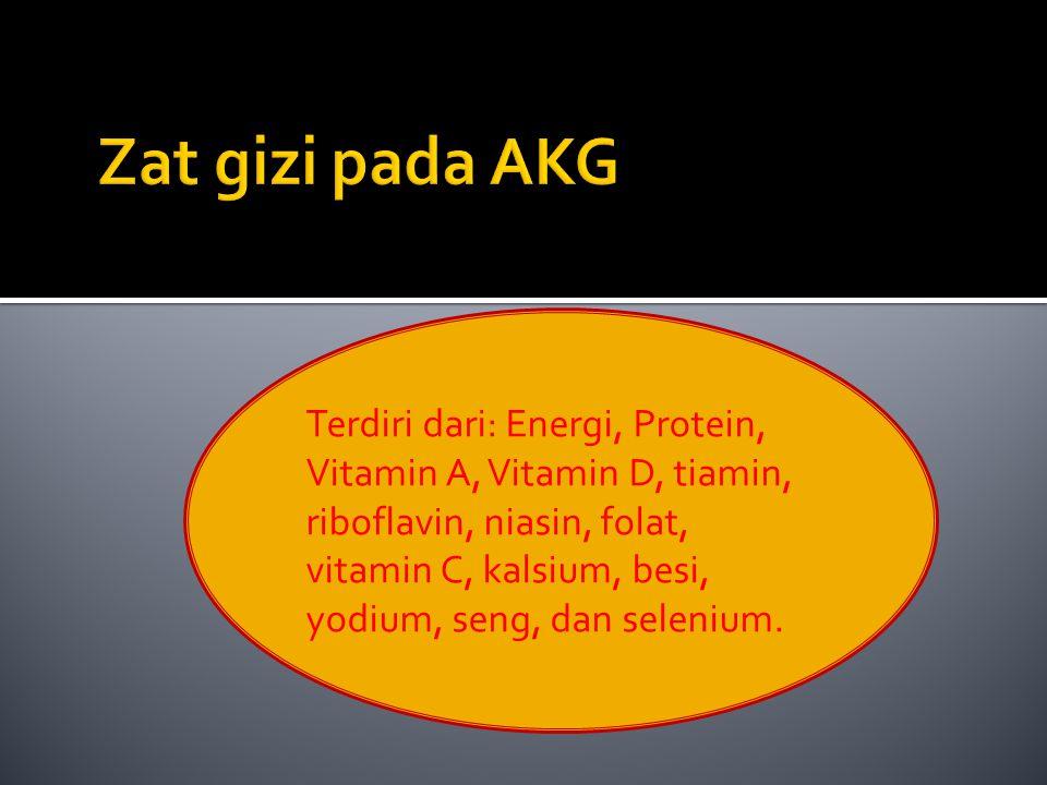 Terdiri dari: Energi, Protein, Vitamin A, Vitamin D, tiamin, riboflavin, niasin, folat, vitamin C, kalsium, besi, yodium, seng, dan selenium.