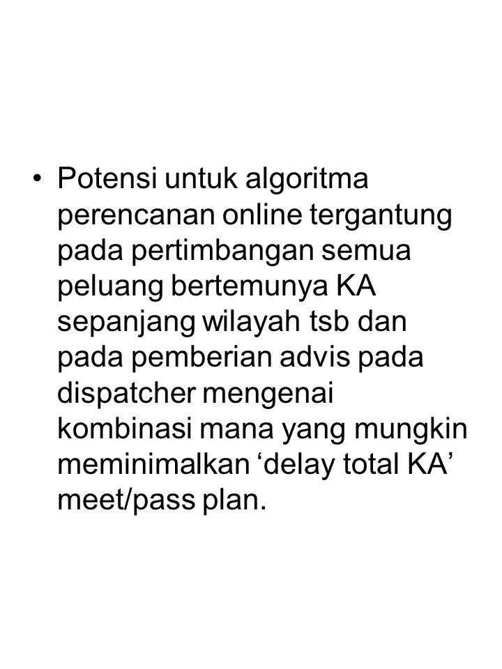 Potensi untuk algoritma perencanan online tergantung pada pertimbangan semua peluang bertemunya KA sepanjang wilayah tsb dan pada pemberian advis pada dispatcher mengenai kombinasi mana yang mungkin meminimalkan 'delay total KA' meet/pass plan.