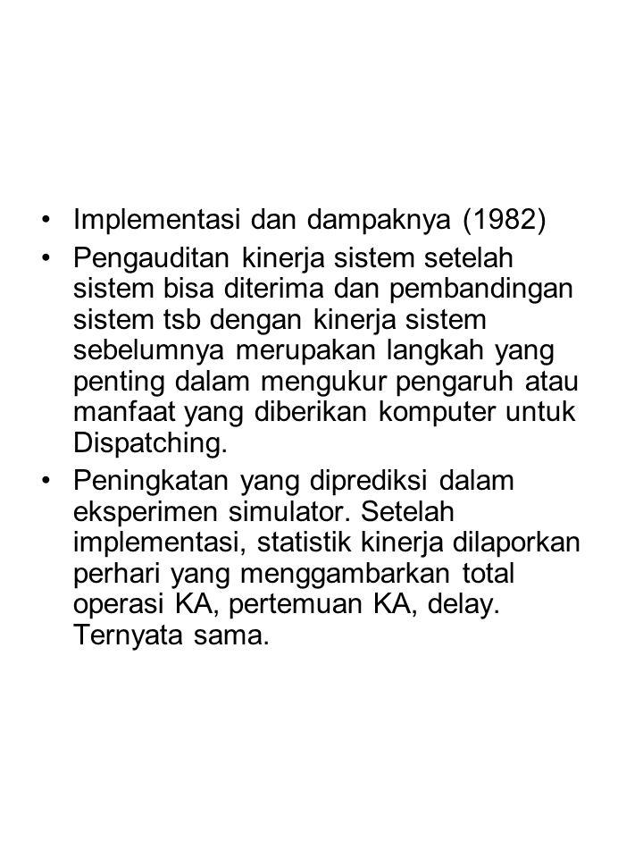 Implementasi dan dampaknya (1982) Pengauditan kinerja sistem setelah sistem bisa diterima dan pembandingan sistem tsb dengan kinerja sistem sebelumnya merupakan langkah yang penting dalam mengukur pengaruh atau manfaat yang diberikan komputer untuk Dispatching.