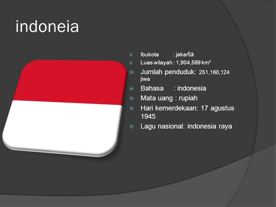 indoneia  Ibukota : jakar ta  Luas wilayah : 1,904,569 km 2  Jumlah penduduk: 251,160,124 jiwa  Bahasa : indonesia  Mata uang : rupiah  Hari kemerdekaan: 17 agustus 1945  Lagu nasional: indonesia raya