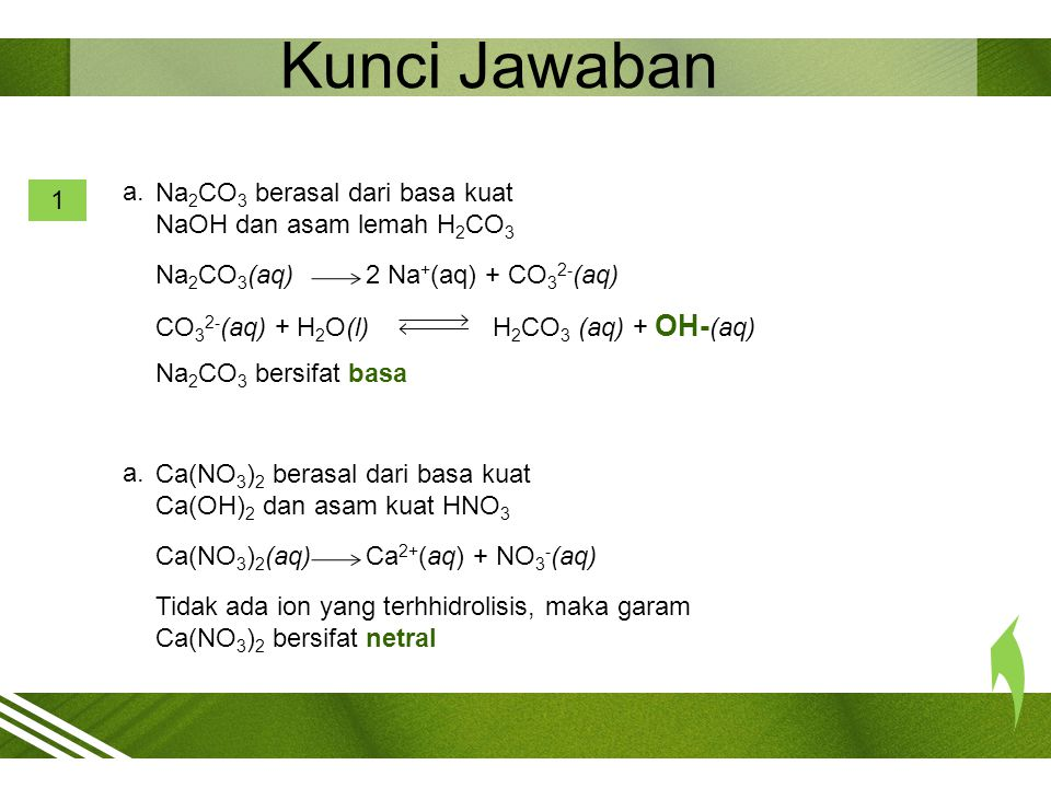 2 Kunci Jawaban CaCO 3 berasal dari basa kuat Ca(OH) 2 dan asam lemah H 2 CO 3 CaCO 3 (aq)Ca 2+ (aq) + CO 3 2- (aq) CO 3 2- (aq) + H 2 O(l) H 2 CO 3 (aq) + OH- (aq) CaCO 3 bersifat basa
