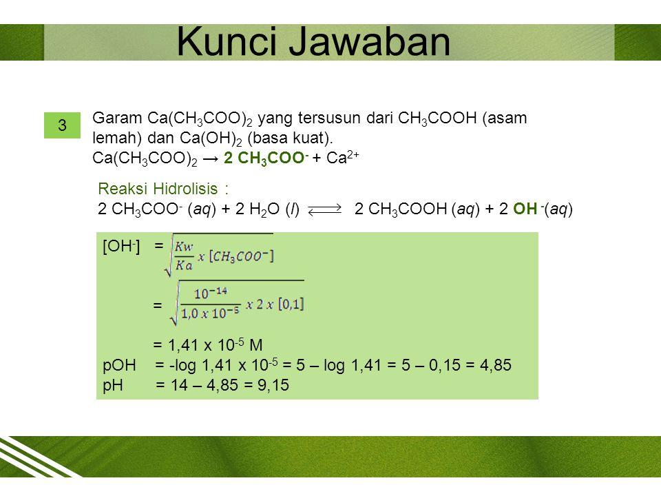 Kunci Jawaban [OH - ] = = = 1,41 x 10 -5 M pOH = -log 1,41 x 10 -5 = 5 – log 1,41 = 5 – 0,15 = 4,85 pH = 14 – 4,85 = 9,15 3 Garam Ca(CH 3 COO) 2 yang