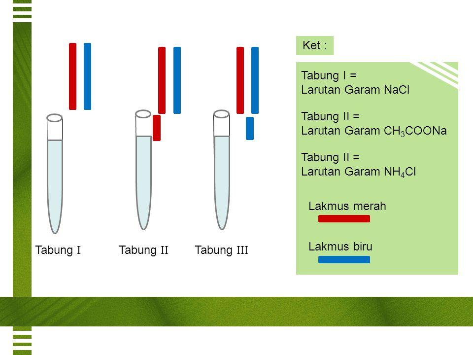 Tabung I Tabung II Tabung III Ket : Tabung I = Larutan Garam NaCl Tabung II = Larutan Garam CH 3 COONa Tabung II = Larutan Garam NH 4 Cl Lakmus merah