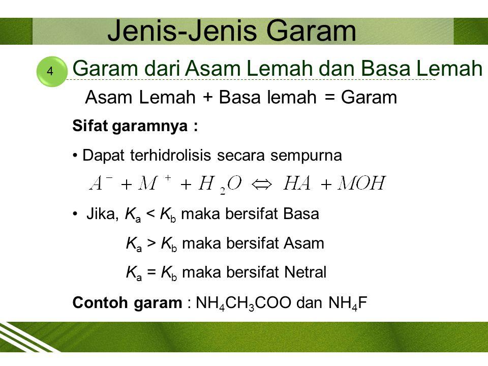Jenis-Jenis Garam 4 Garam dari Asam Lemah dan Basa Lemah Asam Lemah + Basa lemah = Garam Sifat garamnya : Dapat terhidrolisis secara sempurna Jika, K
