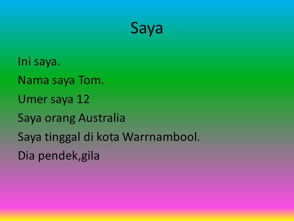 Saya Ini saya. Nama saya Tom. Umer saya 12 Saya orang Australia Saya tinggal di kota Warrnambool.