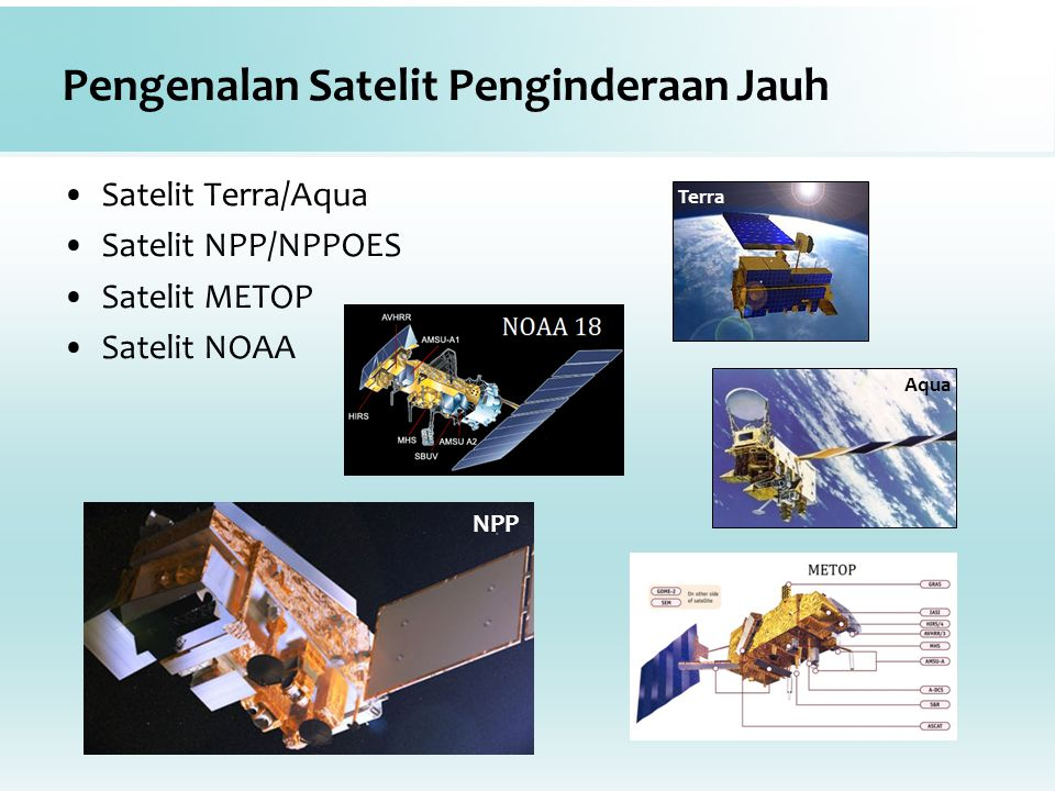 Pengenalan Satelit Penginderaan Jauh Satelit Terra/Aqua Satelit NPP/NPPOES Satelit METOP Satelit NOAA Terra Aqua NPP