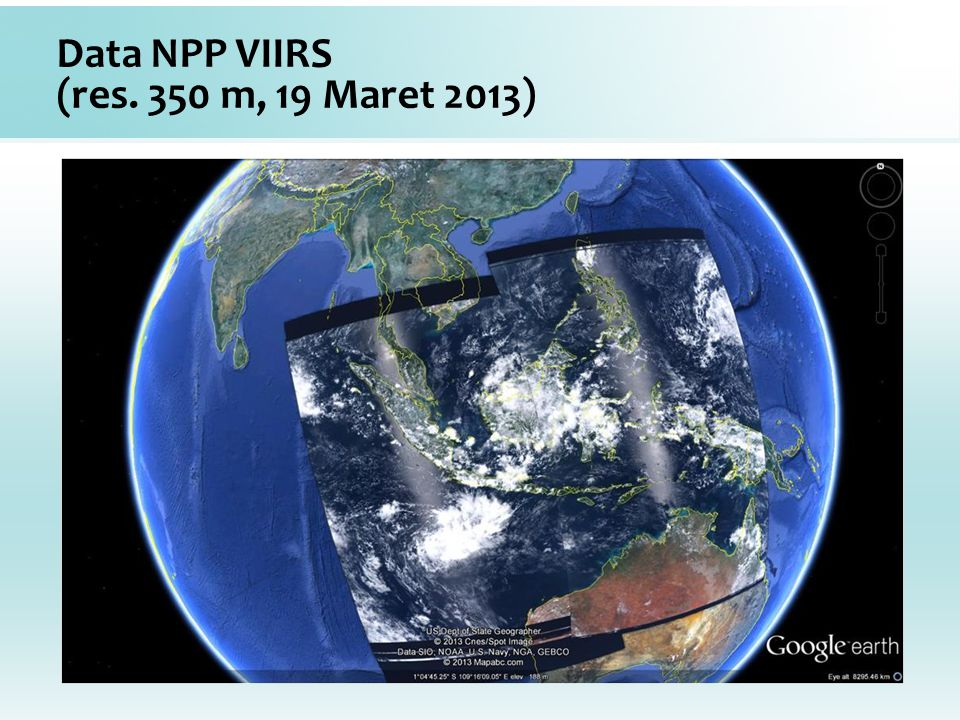 Data NPP VIIRS (res. 350 m, 19 Maret 2013)