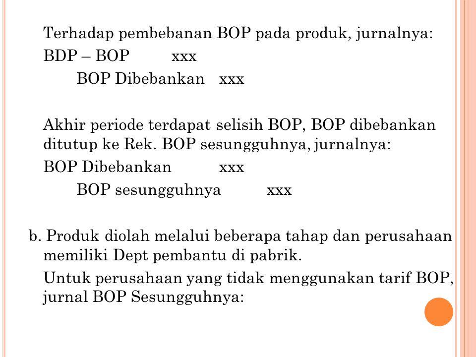Terhadap pembebanan BOP pada produk, jurnalnya: BDP – BOPxxx BOP Dibebankanxxx Akhir periode terdapat selisih BOP, BOP dibebankan ditutup ke Rek.
