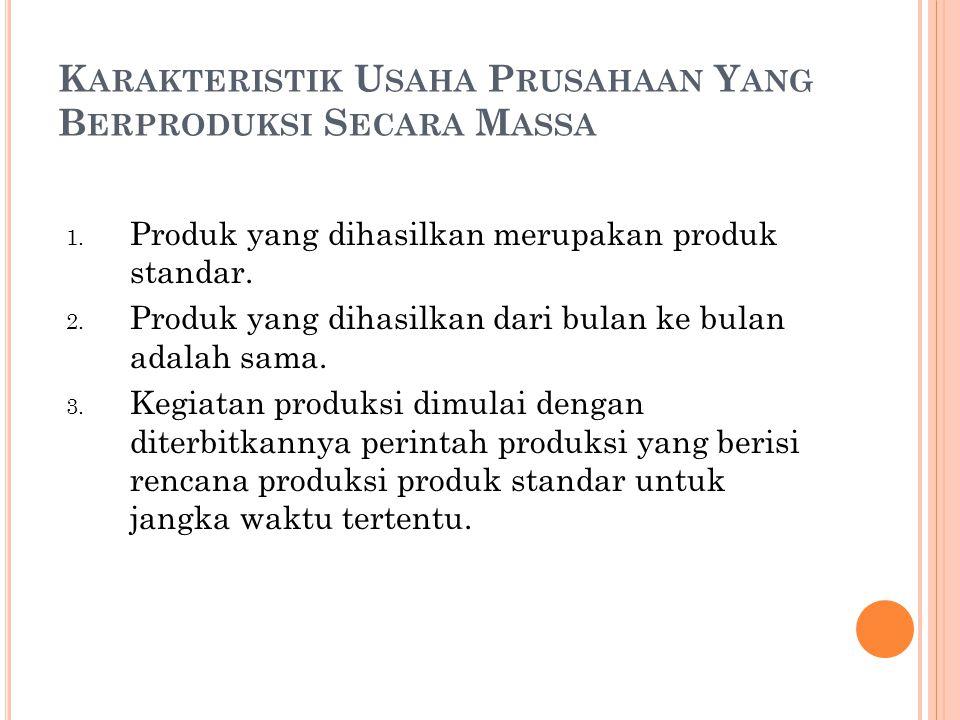 K ARAKTERISTIK U SAHA P RUSAHAAN Y ANG B ERPRODUKSI S ECARA M ASSA 1. Produk yang dihasilkan merupakan produk standar. 2. Produk yang dihasilkan dari