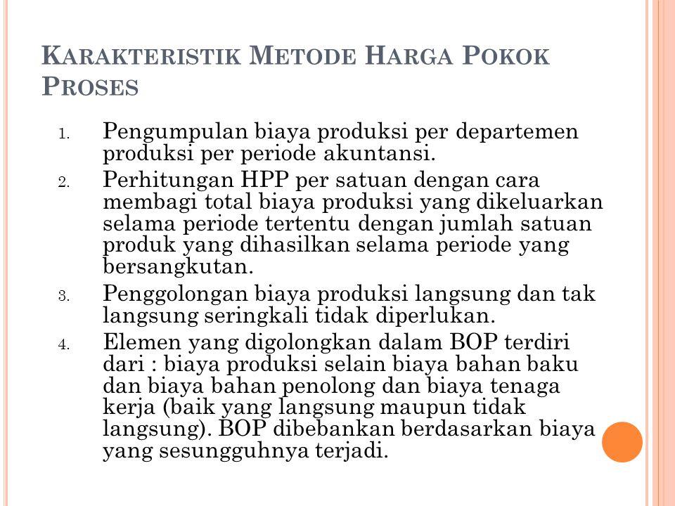 K ARAKTERISTIK M ETODE H ARGA P OKOK P ROSES 1. Pengumpulan biaya produksi per departemen produksi per periode akuntansi. 2. Perhitungan HPP per satua