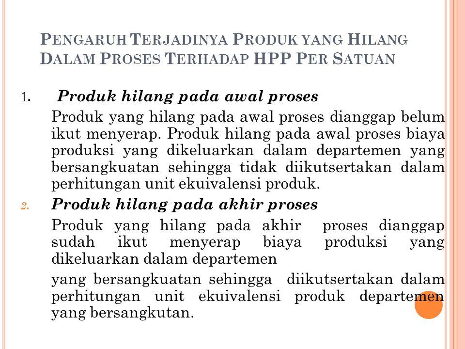P ENGARUH T ERJADINYA P RODUK YANG H ILANG D ALAM P ROSES T ERHADAP HPP P ER S ATUAN 1. Produk hilang pada awal proses Produk yang hilang pada awal pr