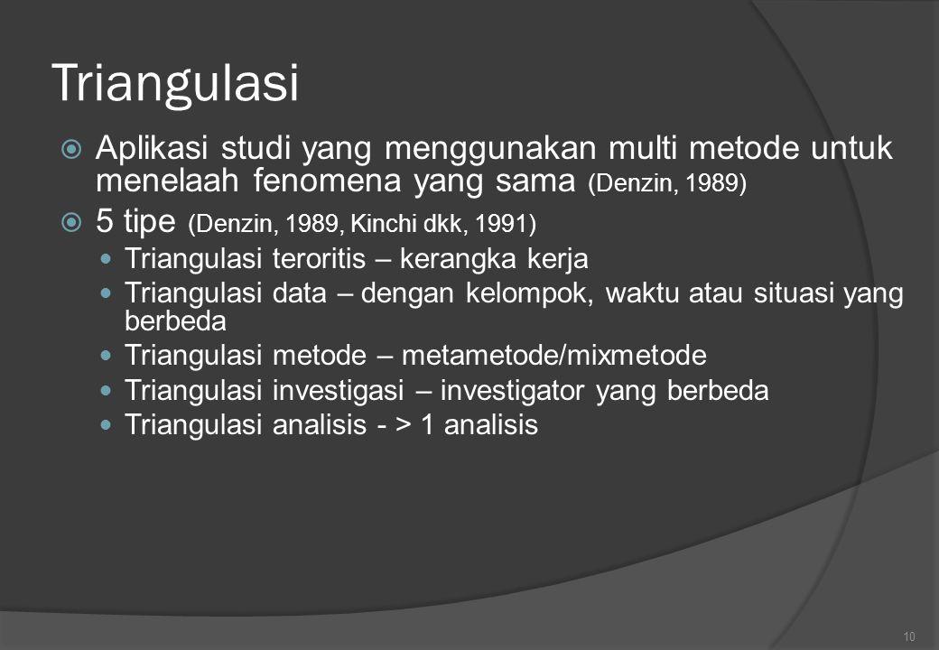 Triangulasi  Aplikasi studi yang menggunakan multi metode untuk menelaah fenomena yang sama (Denzin, 1989)  5 tipe (Denzin, 1989, Kinchi dkk, 1991)