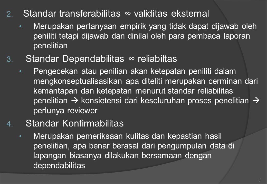 2. Standar transferabilitas ∞ validitas eksternal Merupakan pertanyaan empirik yang tidak dapat dijawab oleh peniliti tetapi dijawab dan dinilai oleh