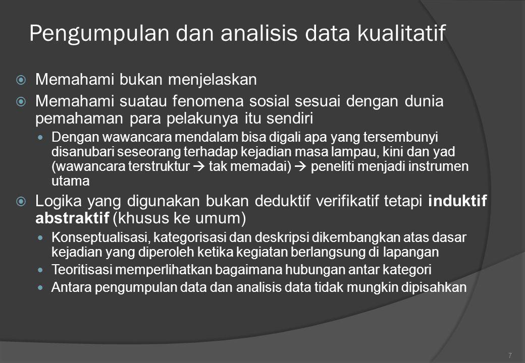 Teknik-teknik analisis kualitatif  Strateginya : salah satu atau bersamaan Analisis deskriptif kualitatif Analsisis verifikatif kualitatif Memberi gambaran bagaimana alur logika analisis datanya  Tidak perlu menutup diri kemungkinan penggunaan data kuantitafif  untuk mengembangkan analisis kualitatif dan mempertajam dan memperkaya analisis Harus luwes untuk mencari makna terhadap fenomena yang ditemukan 8