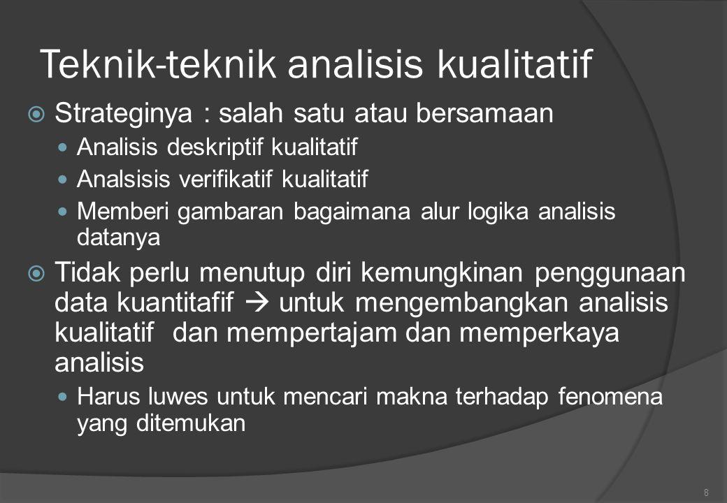 Content analisis  Terutama dalam strategi verifikasi kualitatif  Menampilkan 3 syarat (Janis; Berelson; Liondsey dan Anderson) Obyektifitas Pendekatan sistematis Generalisasi  Mencakup klasifikasi lambang-lambang yang dipakai dalam komunikasi  Menemukan lambang  Klasifikasi  prediksi/analisis data 9