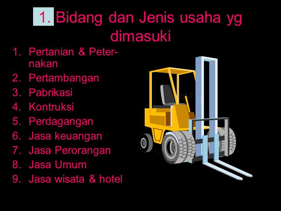 1. Bidang dan Jenis usaha yg dimasuki 1.Pertanian & Peter- nakan 2.Pertambangan 3.Pabrikasi 4.Kontruksi 5.Perdagangan 6.Jasa keuangan 7.Jasa Peroranga