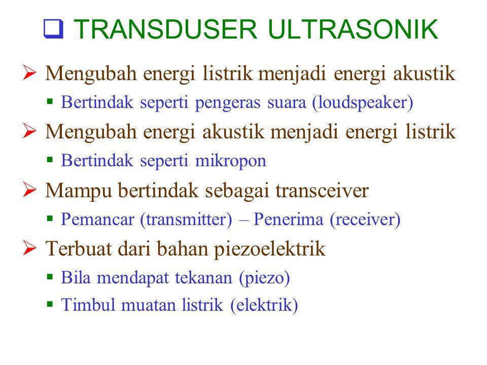  TRANSDUSER ULTRASONIK  Mengubah energi listrik menjadi energi akustik  Bertindak seperti pengeras suara (loudspeaker)  Mengubah energi akustik menjadi energi listrik  Bertindak seperti mikropon  Mampu bertindak sebagai transceiver  Pemancar (transmitter) – Penerima (receiver)  Terbuat dari bahan piezoelektrik  Bila mendapat tekanan (piezo)  Timbul muatan listrik (elektrik)