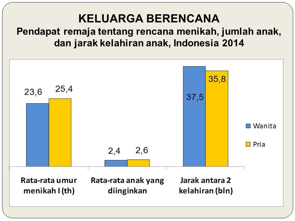 KELUARGA BERENCANA Pendapat remaja tentang rencana menikah, jumlah anak, dan jarak kelahiran anak, Indonesia 2014