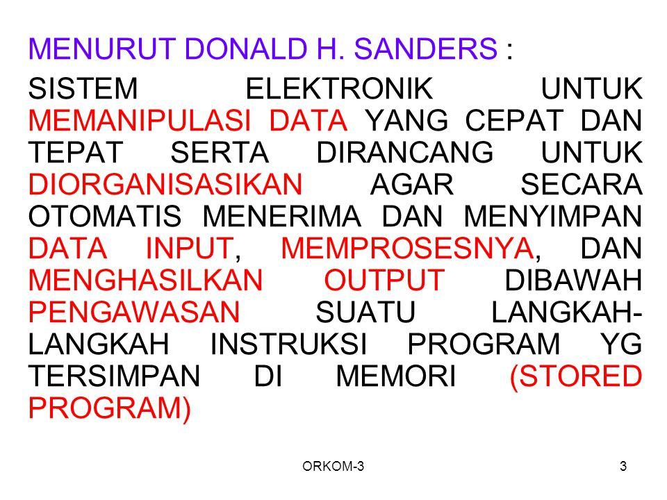 ORKOM-33 MENURUT DONALD H. SANDERS : SISTEM ELEKTRONIK UNTUK MEMANIPULASI DATA YANG CEPAT DAN TEPAT SERTA DIRANCANG UNTUK DIORGANISASIKAN AGAR SECARA