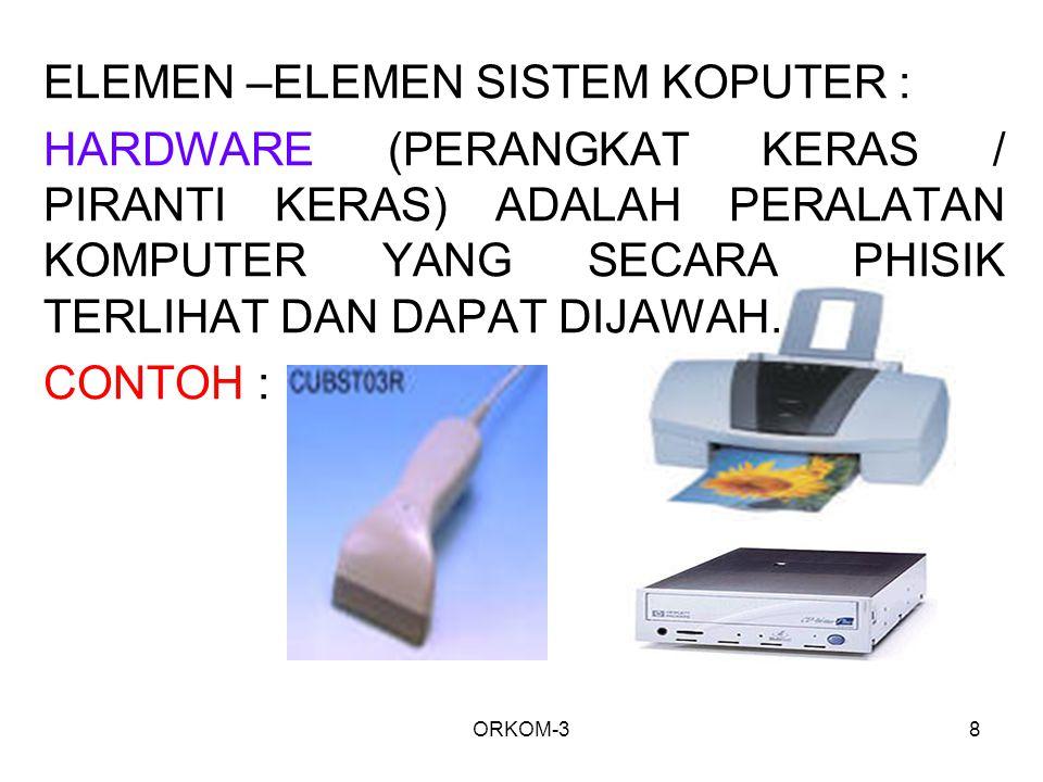 ORKOM-38 ELEMEN –ELEMEN SISTEM KOPUTER : HARDWARE (PERANGKAT KERAS / PIRANTI KERAS) ADALAH PERALATAN KOMPUTER YANG SECARA PHISIK TERLIHAT DAN DAPAT DI
