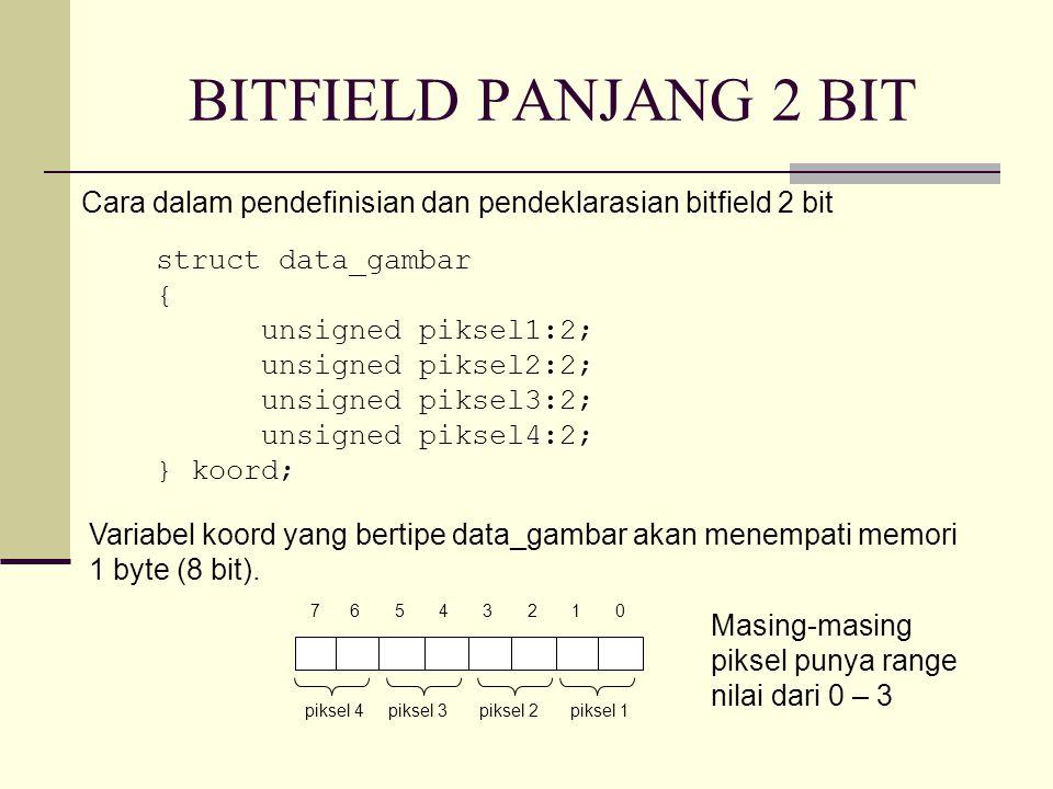 BITFIELD PANJANG 2 BIT struct data_gambar { unsigned piksel1:2; unsigned piksel2:2; unsigned piksel3:2; unsigned piksel4:2; } koord; Cara dalam pendefinisian dan pendeklarasian bitfield 2 bit 7 6 5 4 3 2 1 0 piksel 4piksel 3piksel 2piksel 1 Variabel koord yang bertipe data_gambar akan menempati memori 1 byte (8 bit).