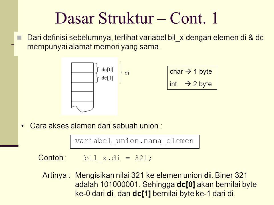 CONTOH PROGRAM UNION #include main() { union { unsigned int di; unsigned char dc[2]; } bil_x;/* variabel union */ bil_x.di = 321; printf( di = %d\n , bil_x.di); printf( dc[0] = %d dc[1] = %d\n , bil_x.dc[0], bil_x.dc[1]); } di = 321 dc[0] = 65 dc[1] = 1