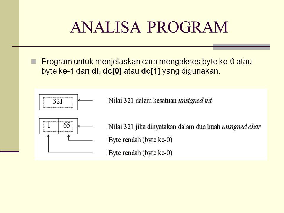 CONTOH PROGRAM -- Union dalam Fungsi -- #include union bil_bulat{ /* definisi tipe union */ unsigned int di; unsigned char dc[2]; }; void beri_nilai(union bil_bulat *x); /*prototype fungsi */ main() { union bil_bulat bil_x;/* deklarasi var union */ beri_nilai(&bil_x);/* melewatkan alamat union */ printf( di = %d\n , bil_x.di); printf( dc[0] = %ddc[1] = %d \n ,bil_x.dc[0], bil_x.dc[1]); } void beri_nilai(union bil_bulat *x) { x -> di = 321; //(*x).di/* elemen di yang ditunjuk */ }/* oleh x diberi nilai 321 */ di = 321 dc[0] = 65 dc[1] = 1