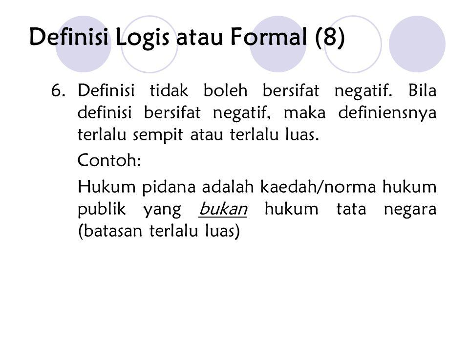 6.Definisi tidak boleh bersifat negatif. Bila definisi bersifat negatif, maka definiensnya terlalu sempit atau terlalu luas. Contoh: Hukum pidana adal