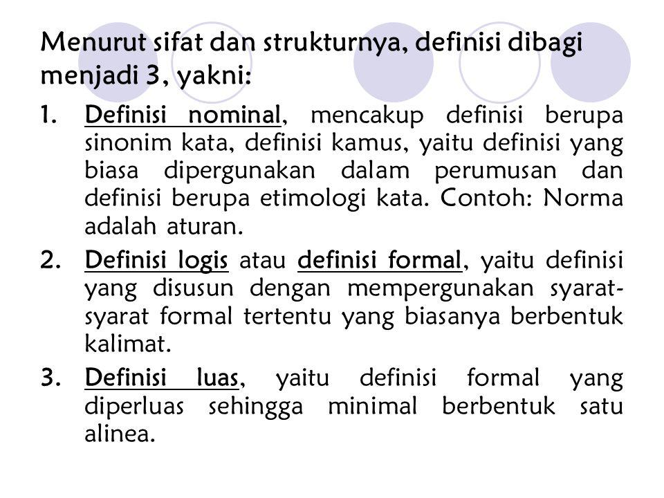 Menurut sifat dan strukturnya, definisi dibagi menjadi 3, yakni: 1.Definisi nominal, mencakup definisi berupa sinonim kata, definisi kamus, yaitu defi