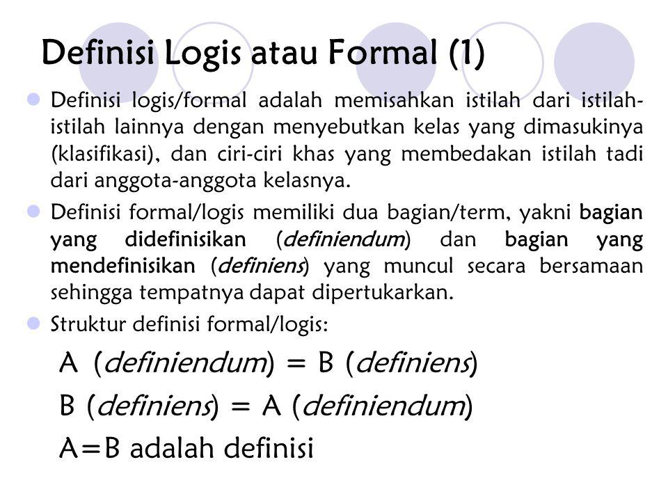 Definisi Logis atau Formal (1) Definisi logis/formal adalah memisahkan istilah dari istilah- istilah lainnya dengan menyebutkan kelas yang dimasukinya