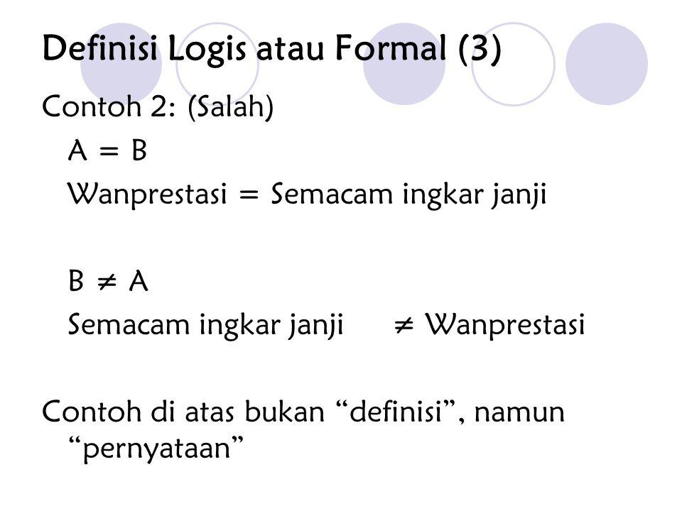 "Contoh 2: (Salah) A = B Wanprestasi = Semacam ingkar janji B ≠ A Semacam ingkar janji ≠ Wanprestasi Contoh di atas bukan ""definisi"", namun ""pernyataan"