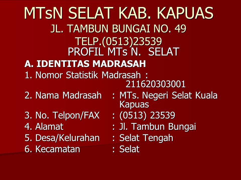 MTsN SELAT KAB. KAPUAS JL. TAMBUN BUNGAI NO. 49 TELP.(0513)23539 PROFIL MTs N. SELAT A. IDENTITAS MADRASAH 1. Nomor Statistik Madrasah: 211620303001 2