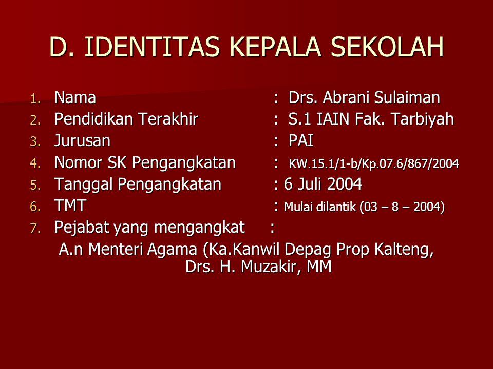 D. IDENTITAS KEPALA SEKOLAH 1. Nama:Drs. Abrani Sulaiman 2. Pendidikan Terakhir: S.1 IAIN Fak. Tarbiyah 3. Jurusan: PAI 4. Nomor SK Pengangkatan: KW.1