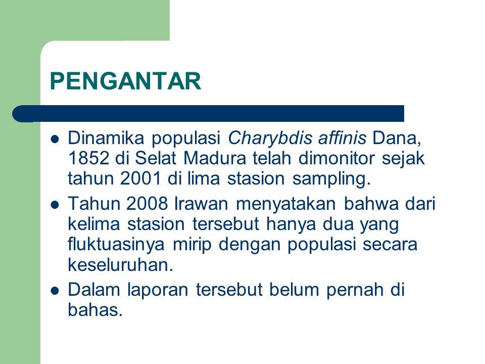 PENGANTAR Dinamika populasi Charybdis affinis Dana, 1852 di Selat Madura telah dimonitor sejak tahun 2001 di lima stasion sampling.