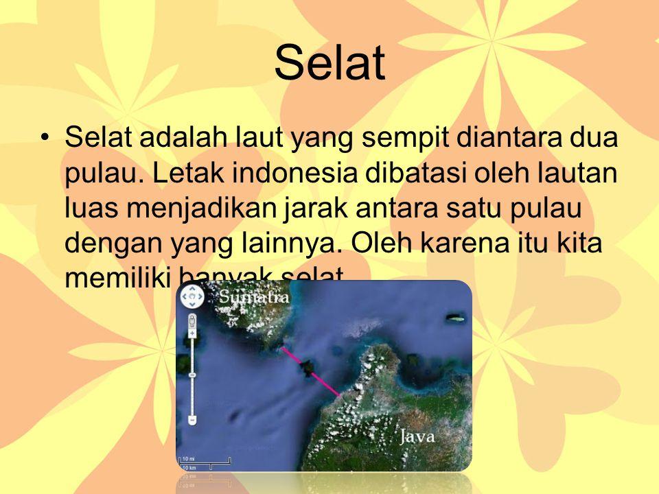 Selat Selat adalah laut yang sempit diantara dua pulau. Letak indonesia dibatasi oleh lautan luas menjadikan jarak antara satu pulau dengan yang lainn