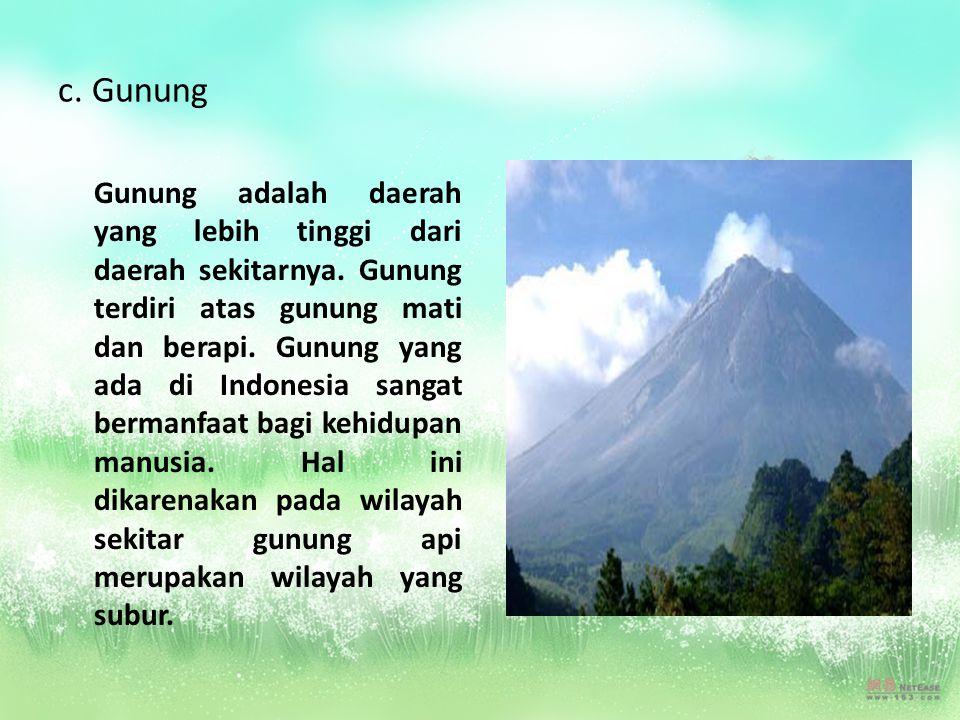 c. Gunung Gunung adalah daerah yang lebih tinggi dari daerah sekitarnya. Gunung terdiri atas gunung mati dan berapi. Gunung yang ada di Indonesia sang