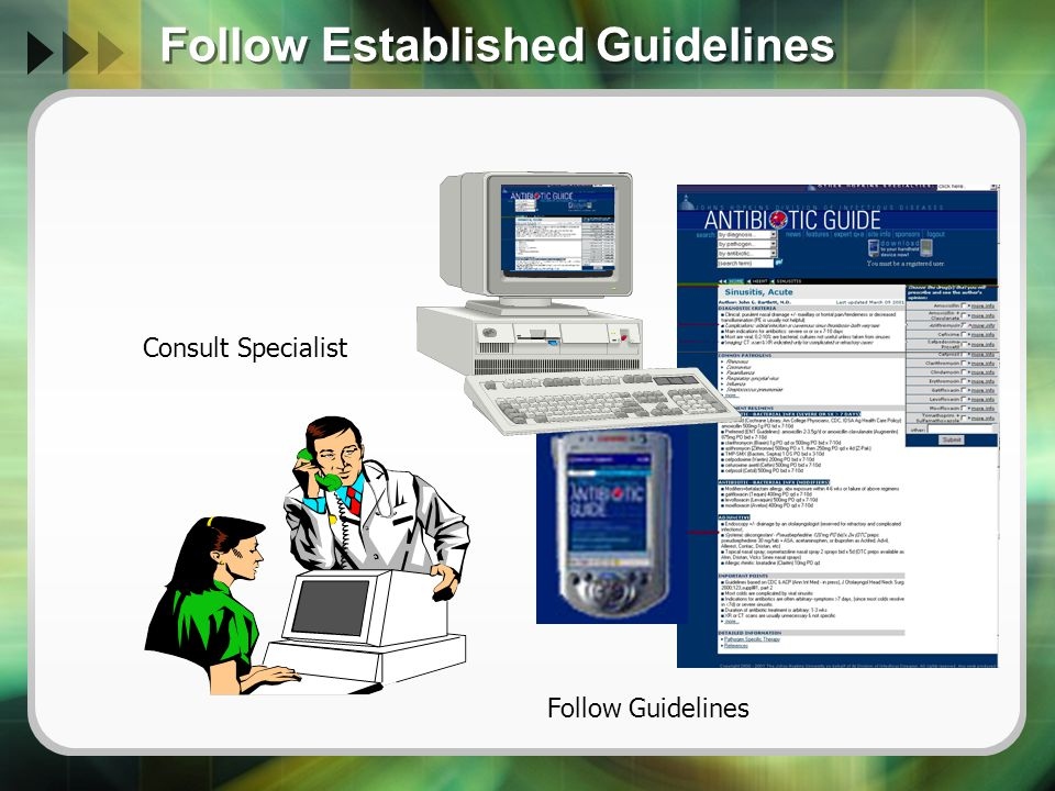 Follow Established Guidelines Consult Specialist Follow Guidelines