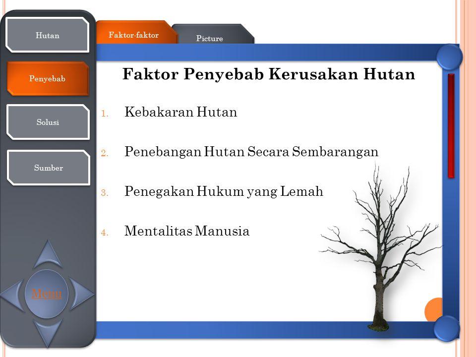 Picture Faktor-faktor Hutan Penyebab Solusi Sumber Faktor Penyebab Kerusakan Hutan 1. Kebakaran Hutan 2. Penebangan Hutan Secara Sembarangan 3. Penega