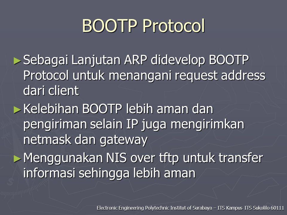 Electronic Engineering Polytechnic Institut of Surabaya – ITS Kampus ITS Sukolilo 60111 BOOTP Protocol ► Sebagai Lanjutan ARP didevelop BOOTP Protocol
