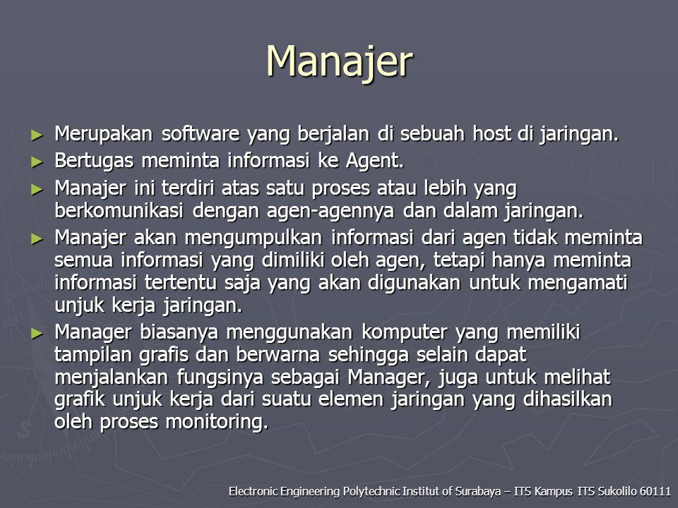 Electronic Engineering Polytechnic Institut of Surabaya – ITS Kampus ITS Sukolilo 60111 Manajer ► Merupakan software yang berjalan di sebuah host di j