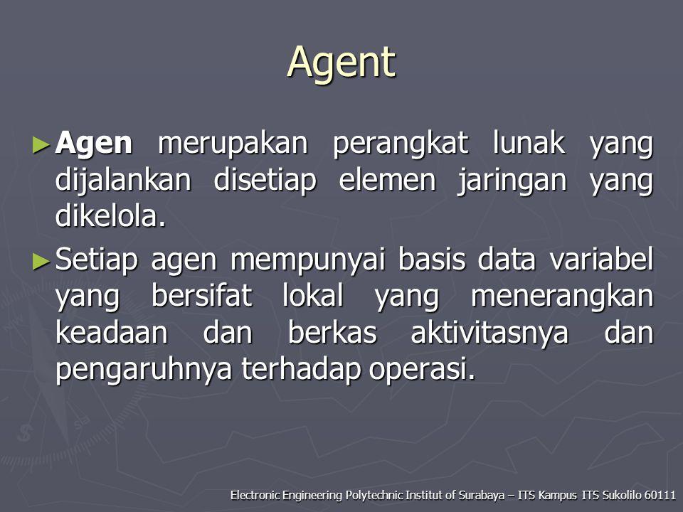Electronic Engineering Polytechnic Institut of Surabaya – ITS Kampus ITS Sukolilo 60111 Agent ► Agen merupakan perangkat lunak yang dijalankan disetia