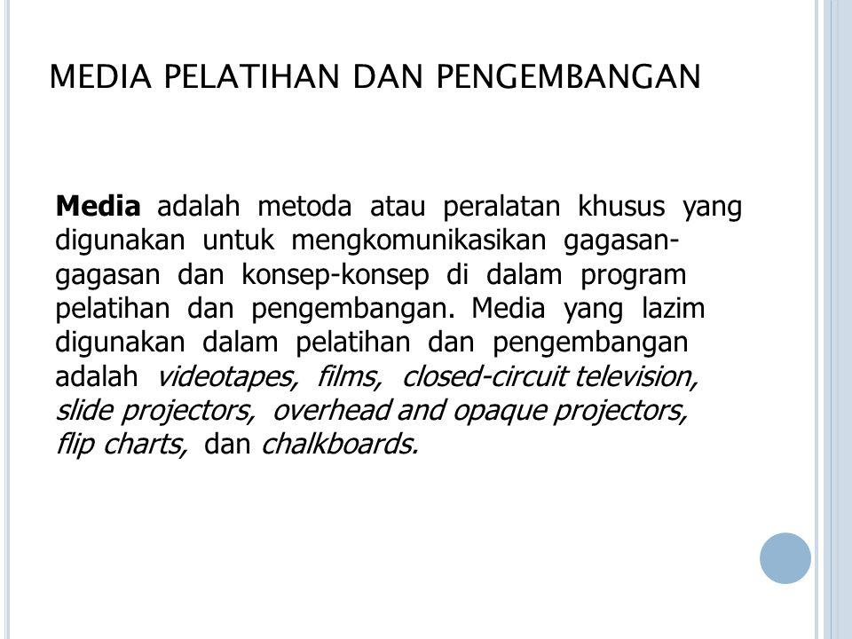 MEDIA PELATIHAN DAN PENGEMBANGAN Media adalah metoda atau peralatan khusus yang digunakan untuk mengkomunikasikan gagasan- gagasan dan konsep-konsep d