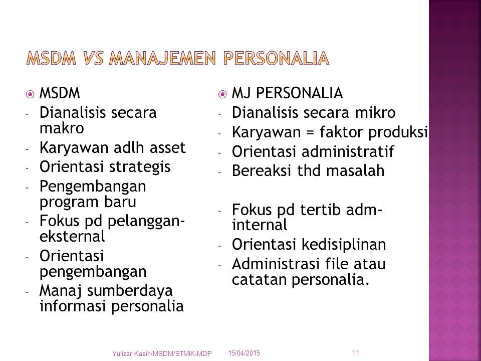  MSDM - Dianalisis secara makro - Karyawan adlh asset - Orientasi strategis - Pengembangan program baru - Fokus pd pelanggan- eksternal - Orientasi p