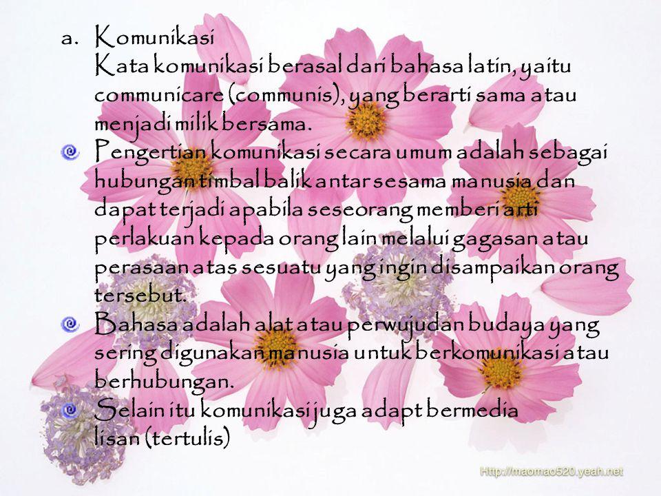 a.Komunikasi Kata komunikasi berasal dari bahasa latin, yaitu communicare (communis), yang berarti sama atau menjadi milik bersama.
