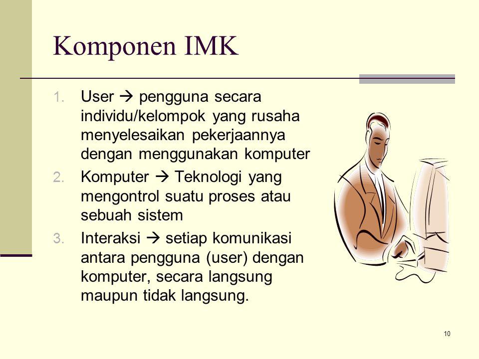 10 Komponen IMK 1. User  pengguna secara individu/kelompok yang rusaha menyelesaikan pekerjaannya dengan menggunakan komputer 2. Komputer  Teknologi